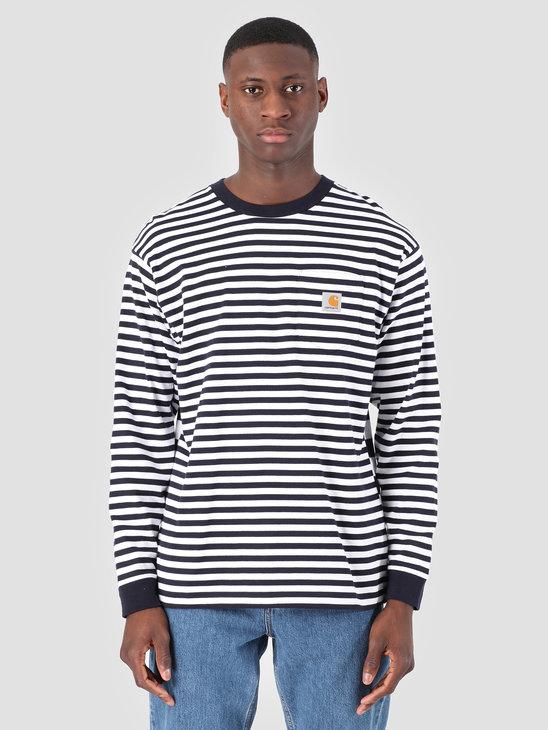Carhartt WIP Longsleeve Barkley Pocket T-Shirt Stripe Barkley Stripe, Dark Navy White I026365