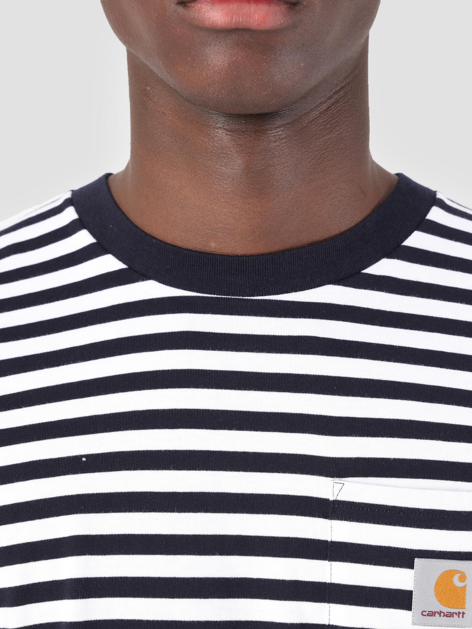 Carhartt WIP Carhartt WIP Longsleeve Barkley Pocket T-Shirt Stripe Barkley Stripe, Dark Navy White I026365