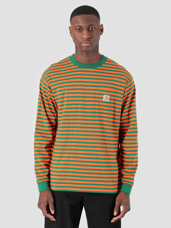 Carhartt WIP Longsleeve Barkley Pocket T-Shirt Stripe Barkley Stripe, Dragon Clivia I026365