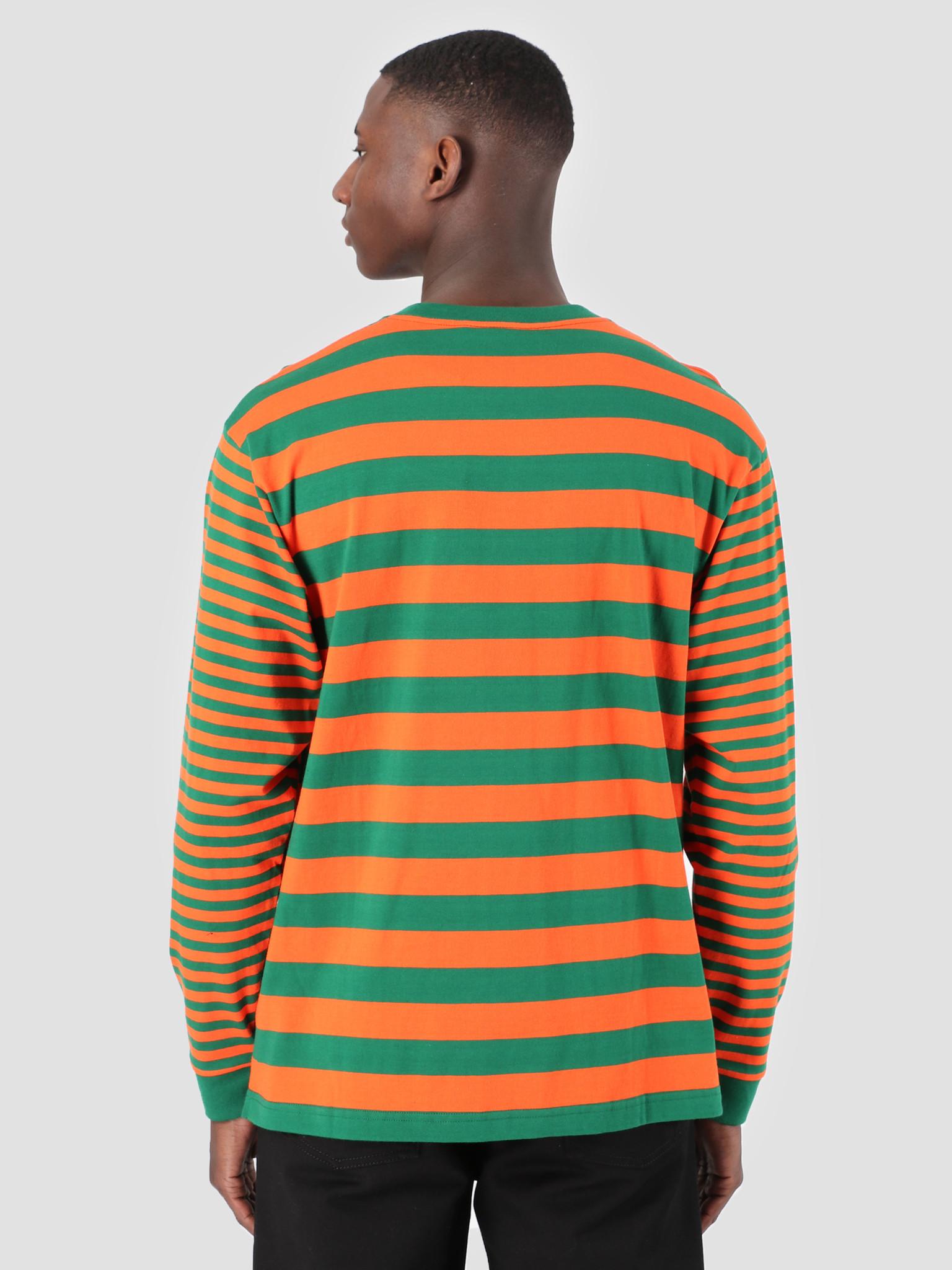 Carhartt WIP Carhartt WIP Longsleeve Barkley Pocket T-Shirt Stripe Barkley Stripe, Dragon Clivia I026365