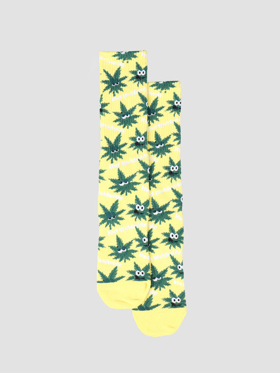 HUF Plantlife Green Buddies 2 Sock Aurora Yellow SK00315