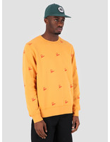 By Parra By Parra Crew Neck Signature Allover Overdyed Gold 42270
