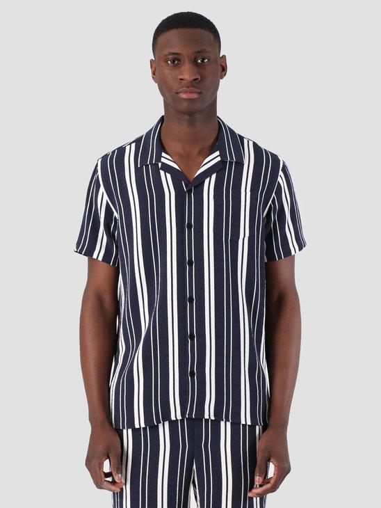 Libertine Libertine Cave Shortsleeve Shirt Off White Evening Blue 1621