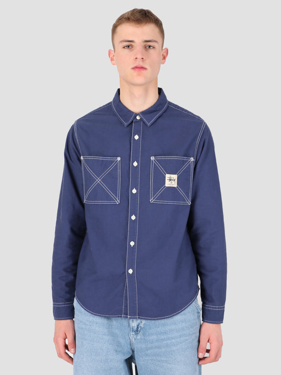 Stussy Oxford Work Longsleeve Shirt Navy 0806