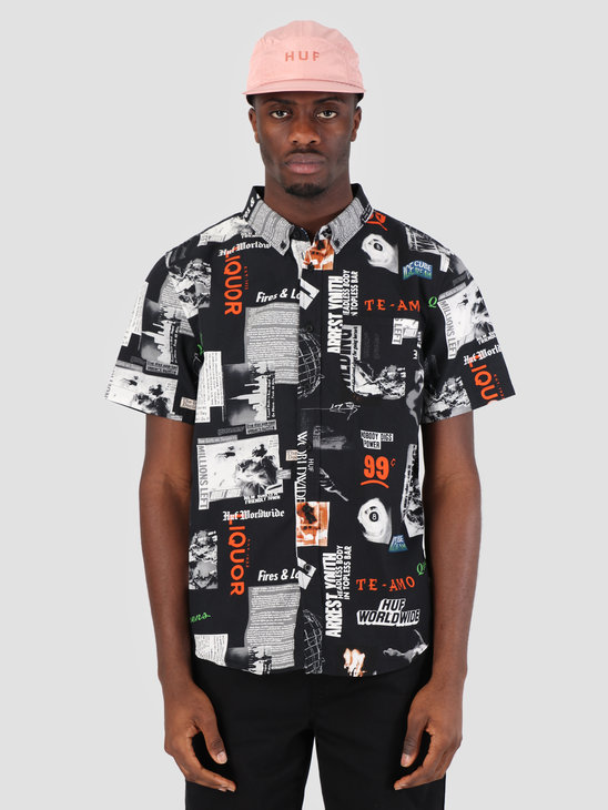 HUF Headlines Woven Shirt Black BU00045