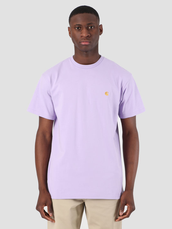Carhartt WIP Short Sleeve Chase T-Shirt Soft Lavender Gold 61091000