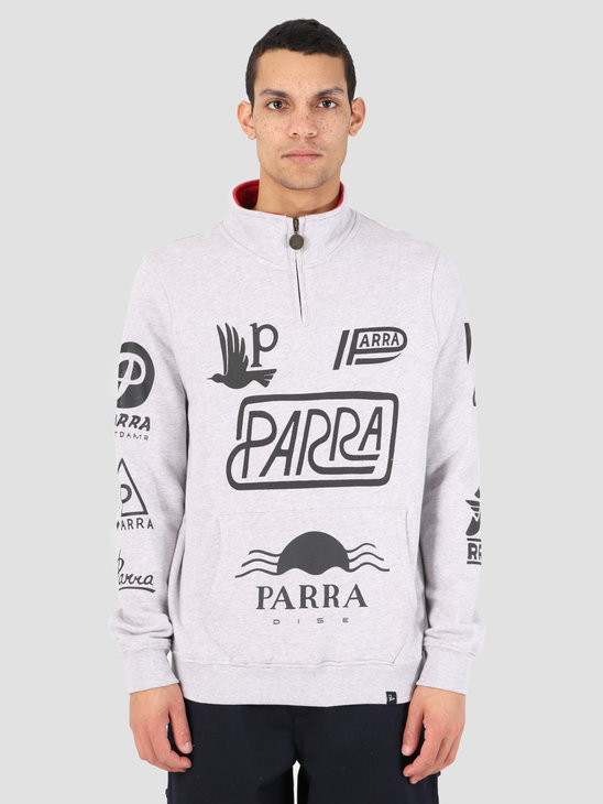 By Parra Quarter Zip Sweater Sponsored Ash Gray 42410