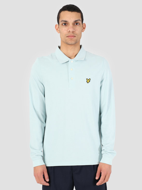 Lyle and Scott Longsleeve Polo Shirt Z464 Blue Shore LP400VB