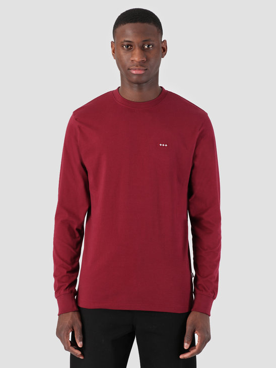Quality Blanks QB05 Patch Logo Longsleeve Burgundy Red