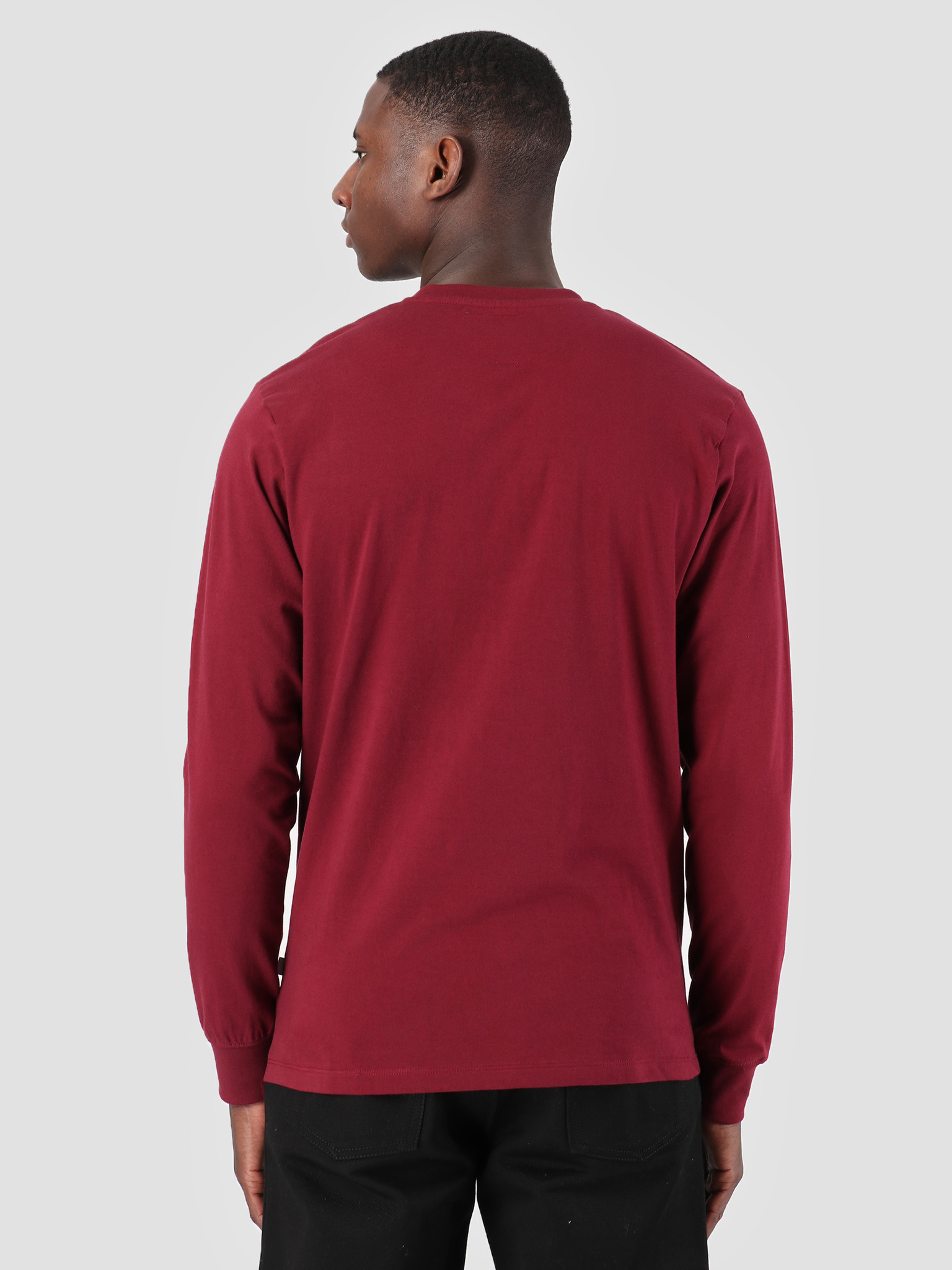 Quality Blanks Quality Blanks QB05 Patch Logo Longsleeve Burgundy Red
