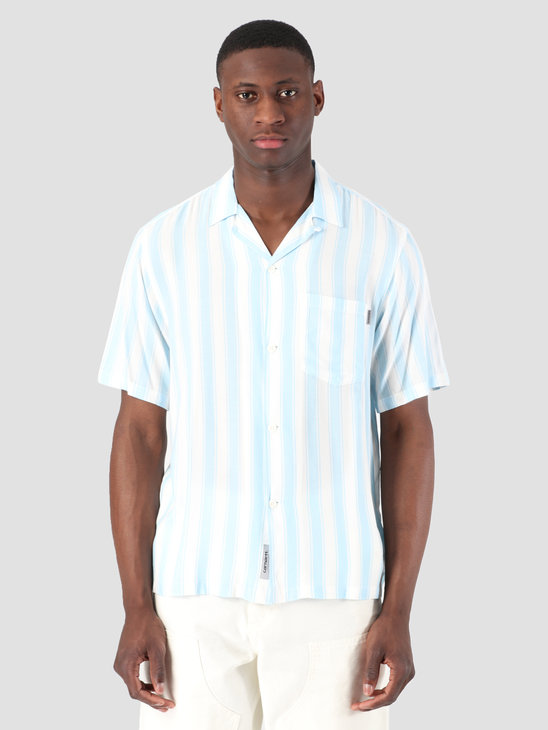 Carhartt WIP Short Sleeve Esper Shirt Esper Stripe Capri Wax I026296
