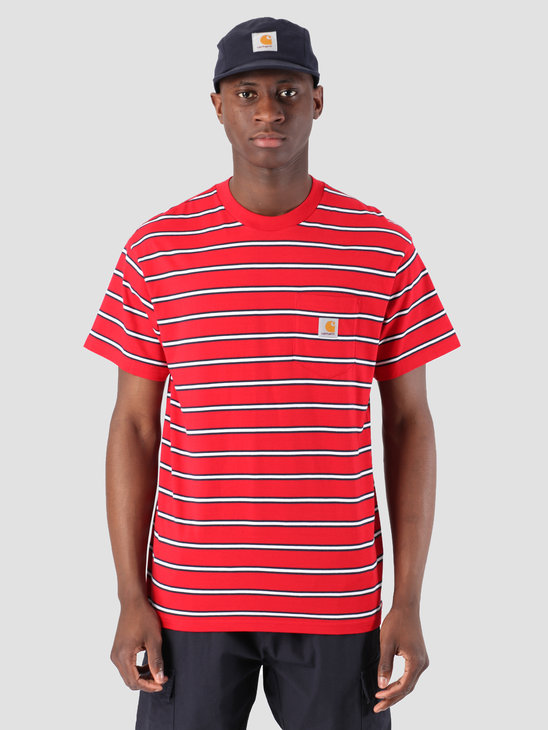 Carhartt WIP Houston Pocket T-Shirt Stripe Houston Stripe, Cardinal I026370