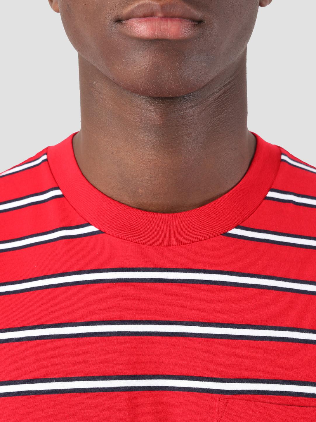 Carhartt WIP Carhartt WIP Houston Pocket T-Shirt Stripe Houston Stripe, Cardinal I026370