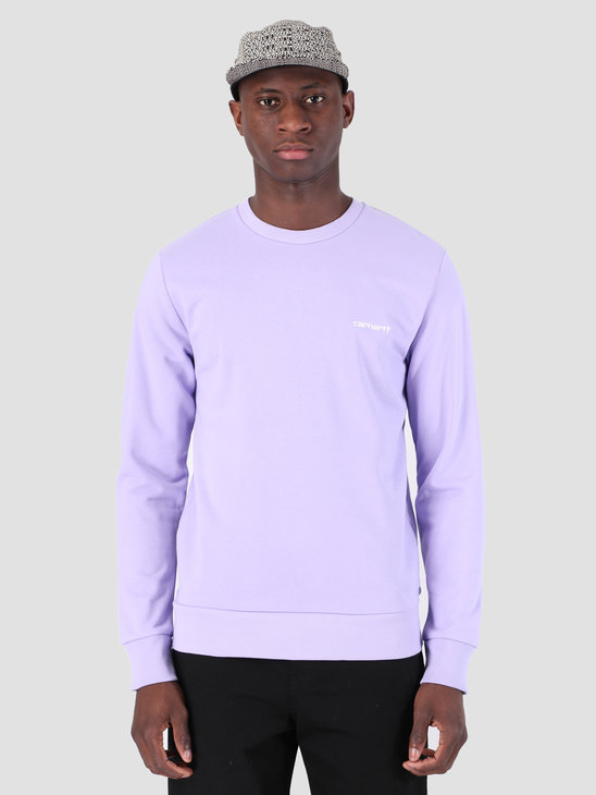 Carhartt WIP Script Embroidery Sweat Soft Lavender White 61102099