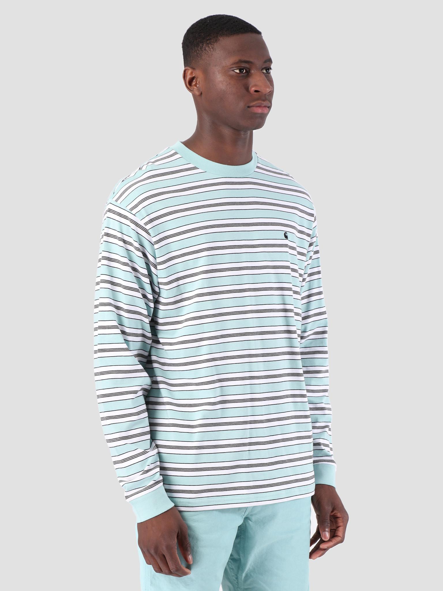 Carhartt WIP Carhartt WIP Long Sleeve Huron Shirt Huron Stripe Soft Aloe Black 61091000