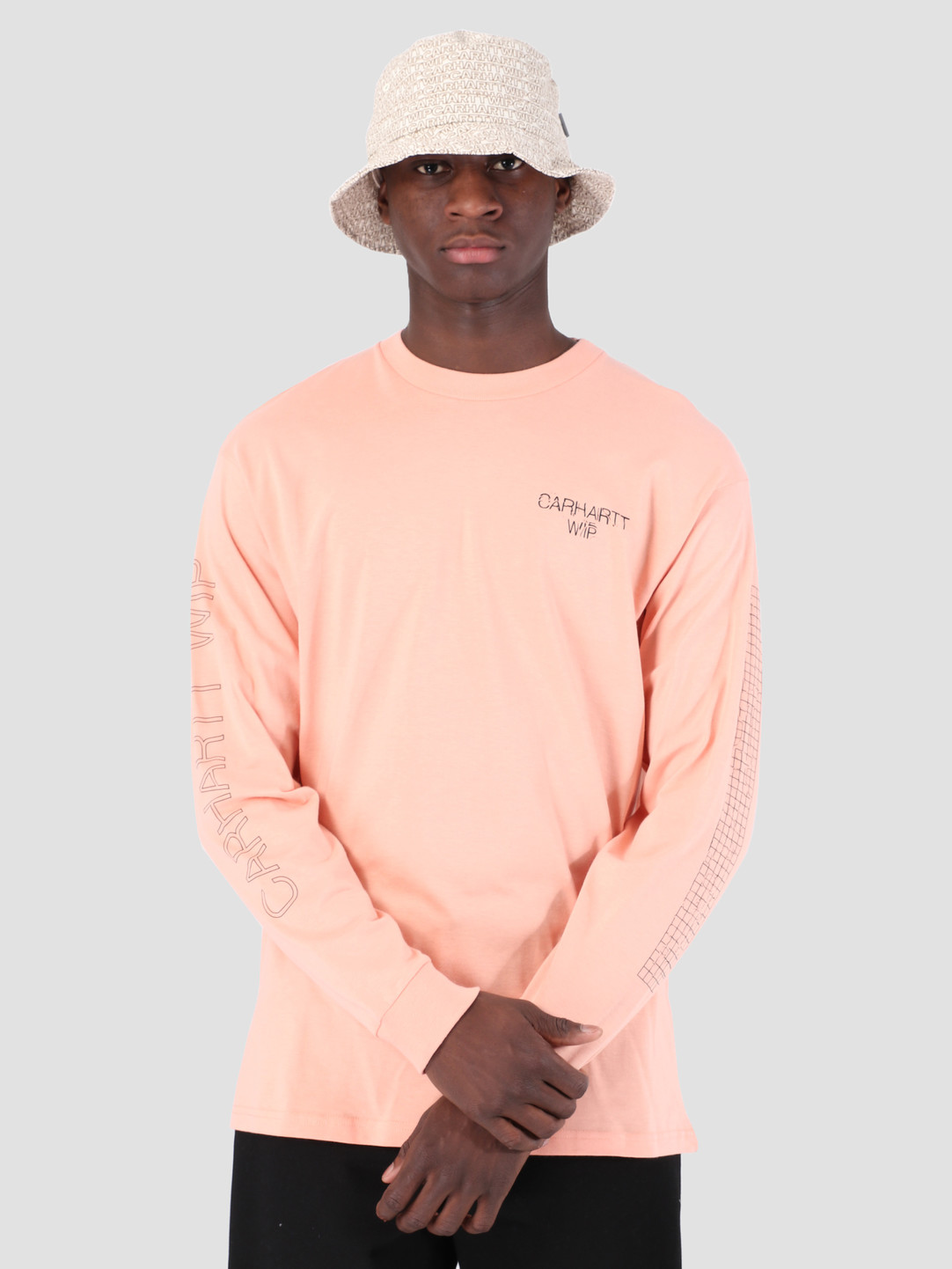 Carhartt WIP Carhartt WIP Long Sleeve Grid C Shirt Peach Black 61091000