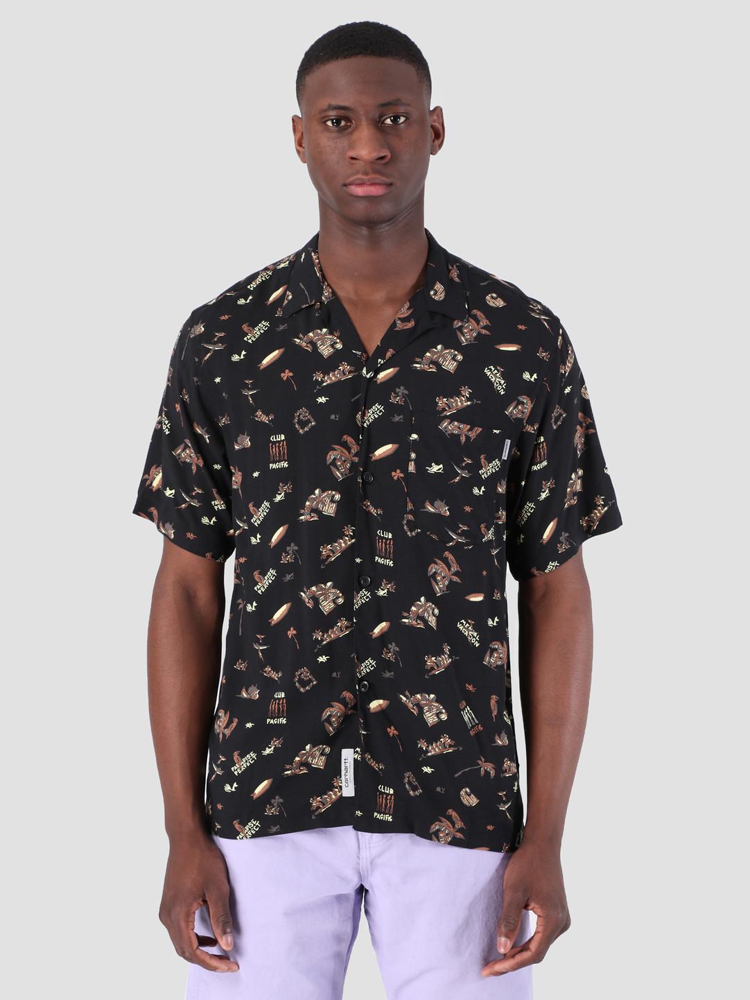 Carhartt WIP Carhartt WIP Short Sleeve Club Pacific Shirt Club Pacific Print Black 62053000
