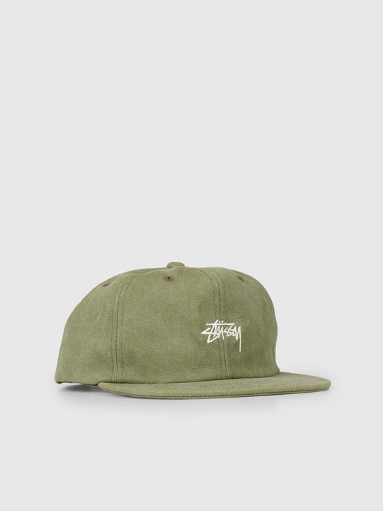 Stussy Stock Washed Canvas Cap Olive 0403