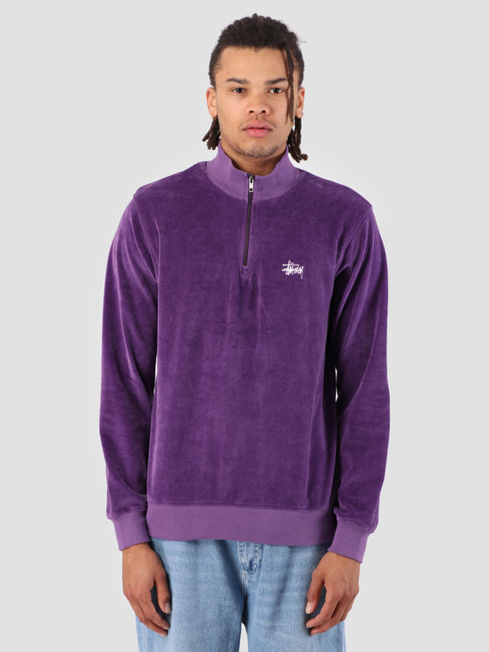Stussy Velour Longsleeve Zip Mock Purple 0809