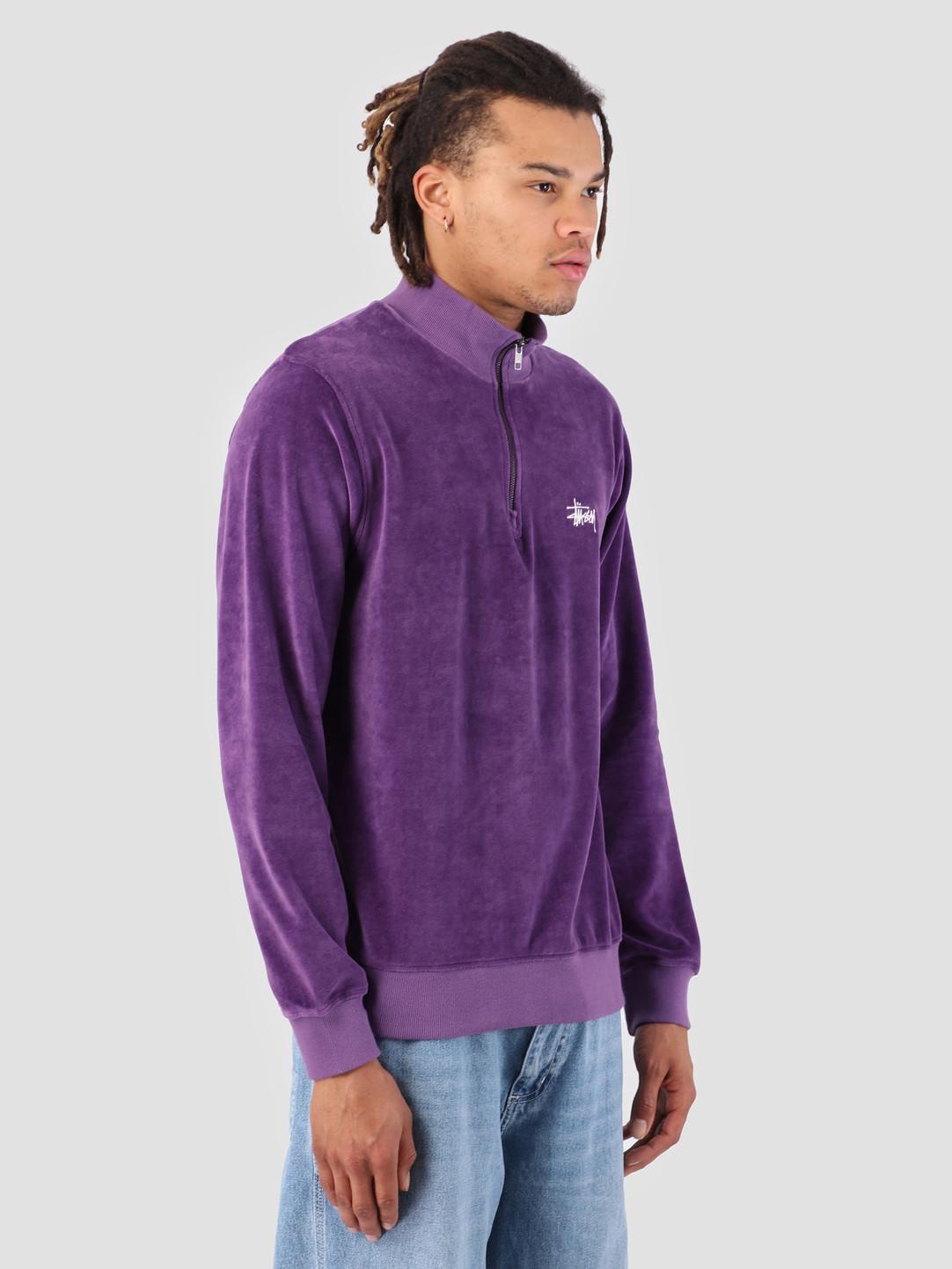 Stussy Stussy Velour Longsleeve Zip Mock Purple 0809
