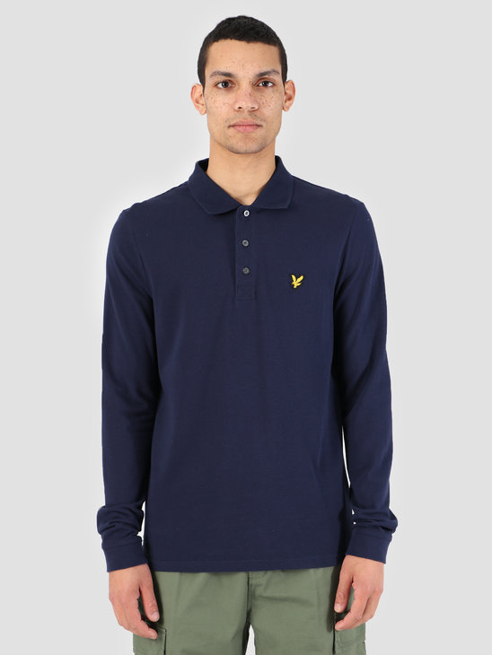 Lyle and Scott Longsleeve Polo Shirt Z99 Navy LP400VB