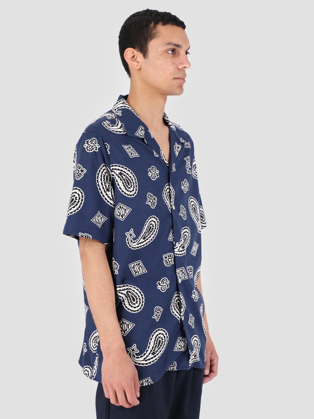 Lacoste Lacoste 1Hc1 Men'S Shortsleeve Woven Shirt 02 Methylene Multico Ch3776-91