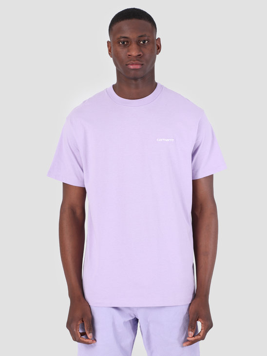 Carhartt WIP Short Sleeve Script Embroidery T-Shirt Soft Lavender White 61091000