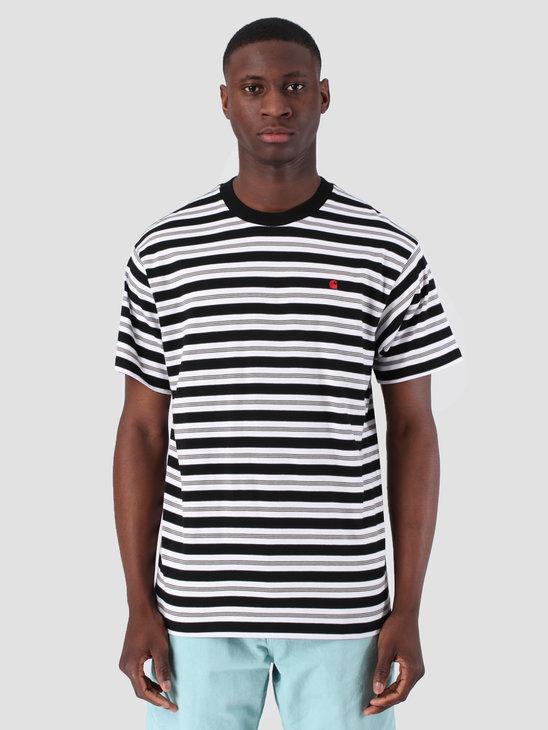 Carhartt WIP Short Sleeve Huron T-Shirt Huron Stripe Black Cardinal 61091000