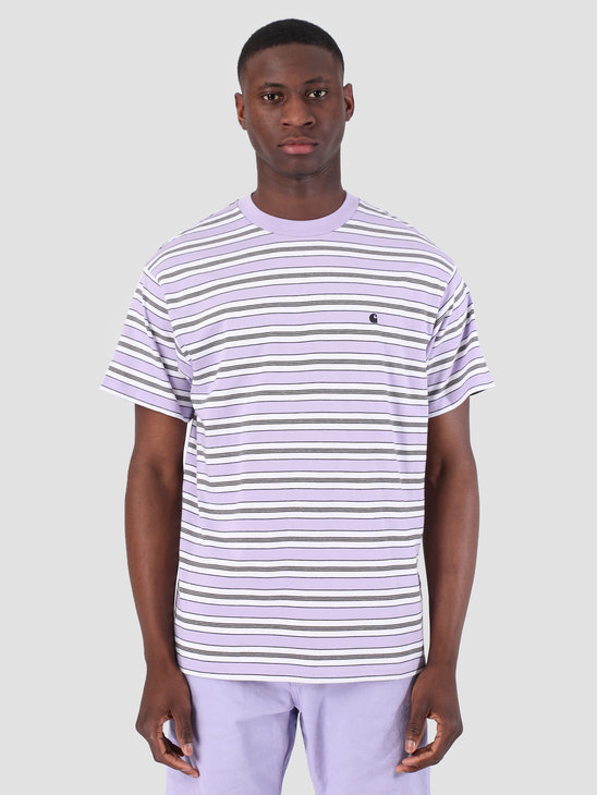 Carhartt WIP Short Sleeve Huron T-Shirt Huron Stripe Soft Lavender Black 61091000