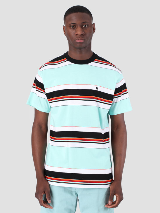 Carhartt WIP Short Sleeve Ozark T-Shirt Ozark Stripe Light Yucca Black 61091000
