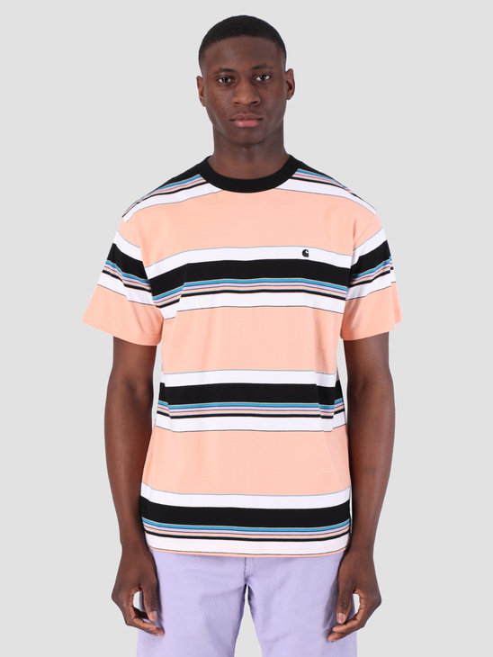Carhartt WIP Short Sleeve Ozark T-Shirt Ozark Stripe Peach Black 61091000