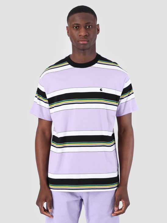 Carhartt WIP Short Sleeve Ozark T-Shirt Ozark Stripe Soft Lavender Black 61091000