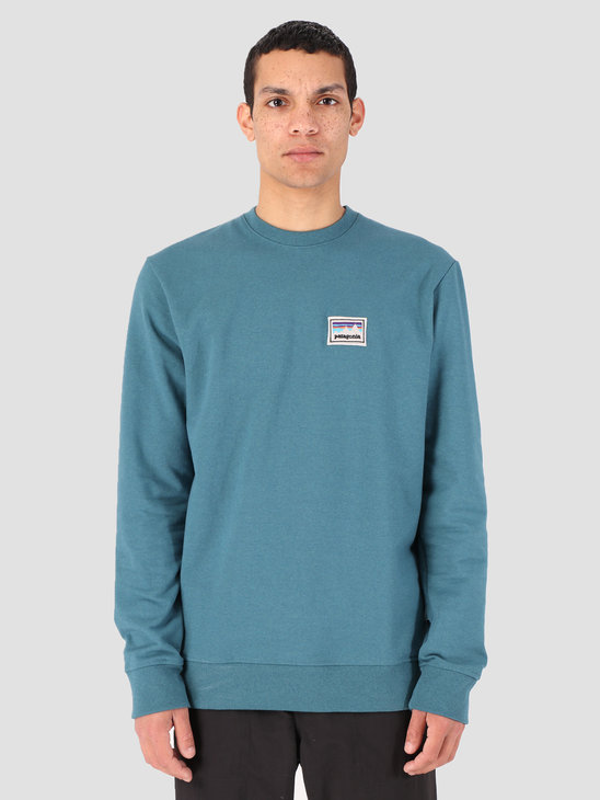Patagonia Shop Sticker Patch Uprisal Crew Sweatshirt Tasmanian Teal 39541