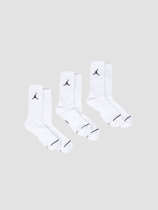 Nike Jordan Jumpman Crew Socks 3 Pack White Black SX5545-100
