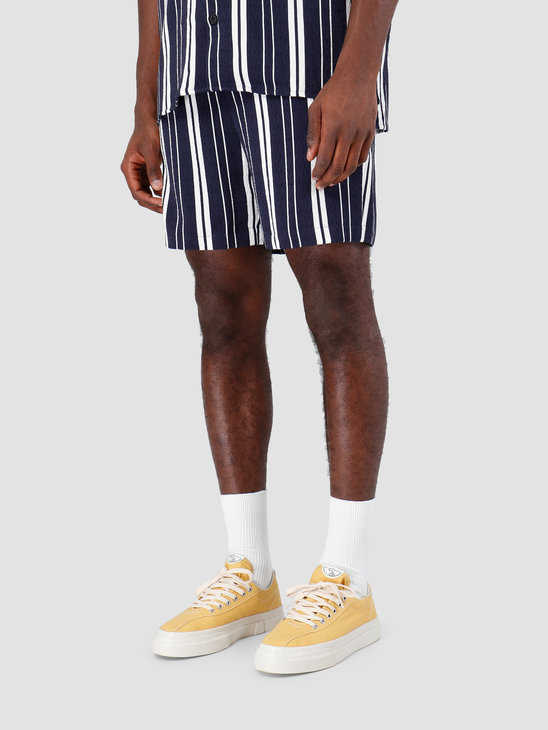 Libertine Libertine Front Shorts Off White W Navy Stripe 1621