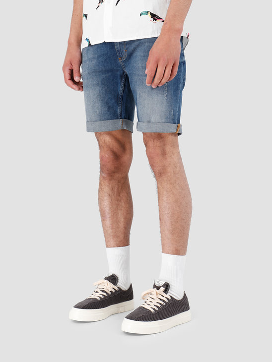 RVLT Destroyed Wash Shorts Light Blue 5403