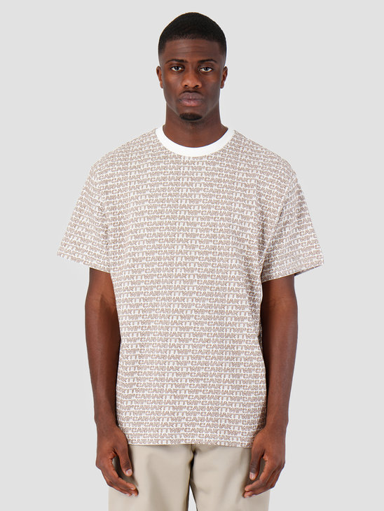 Carhartt WIP Short Sleeve Typo T-Shirt Typo Print Wax Hamilton Brown 61091000