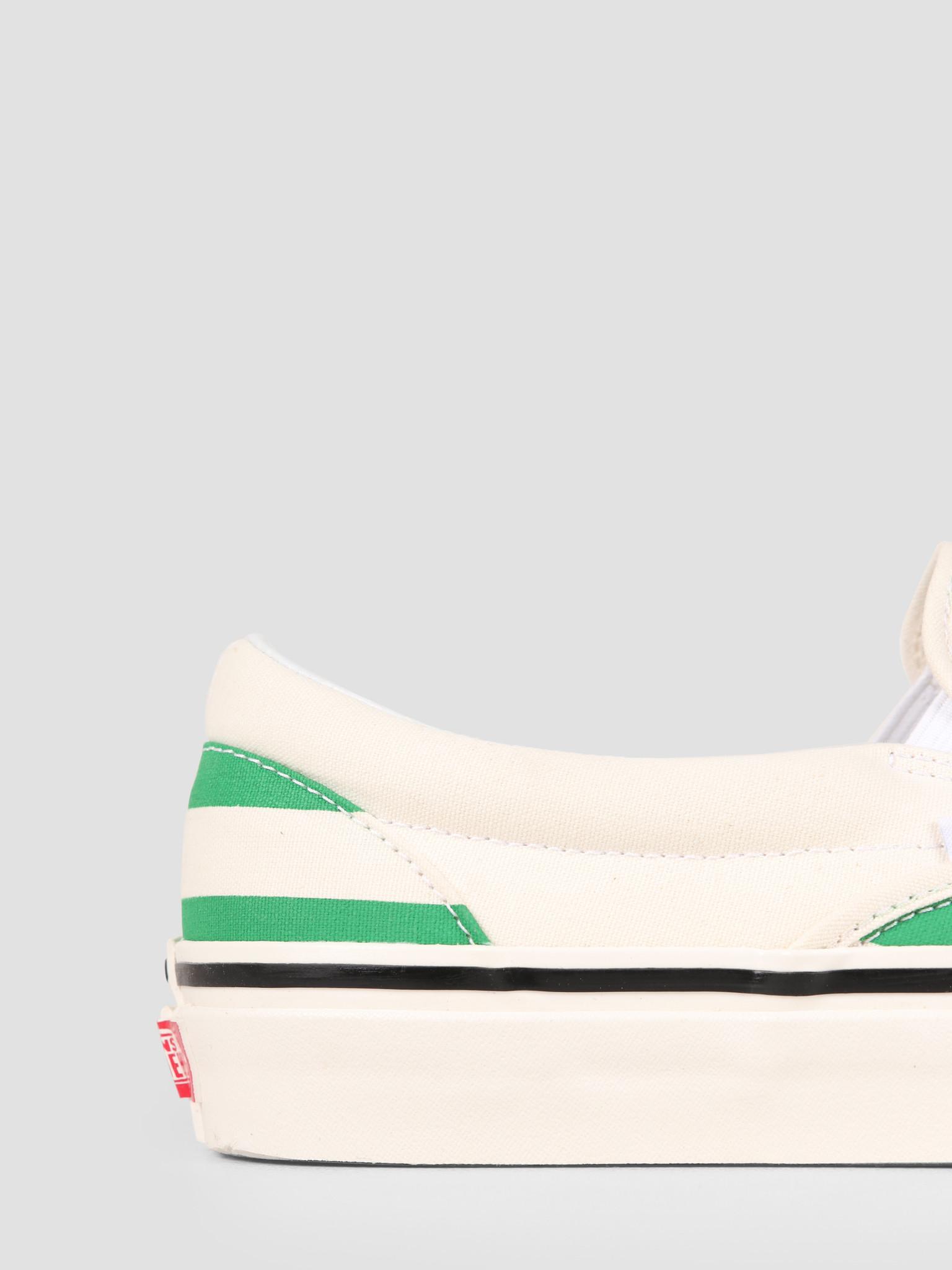 Vans Vans UA Classic Slip-On 98 DX Anaheim OG White OG Emerald Big Stripes Vn0A3Jexvn11