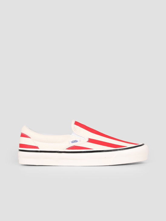 Vans UA Classic Slip-On 98 DX Anaheim OG White OG Red Big Stripes Vn0A3Jexvn21
