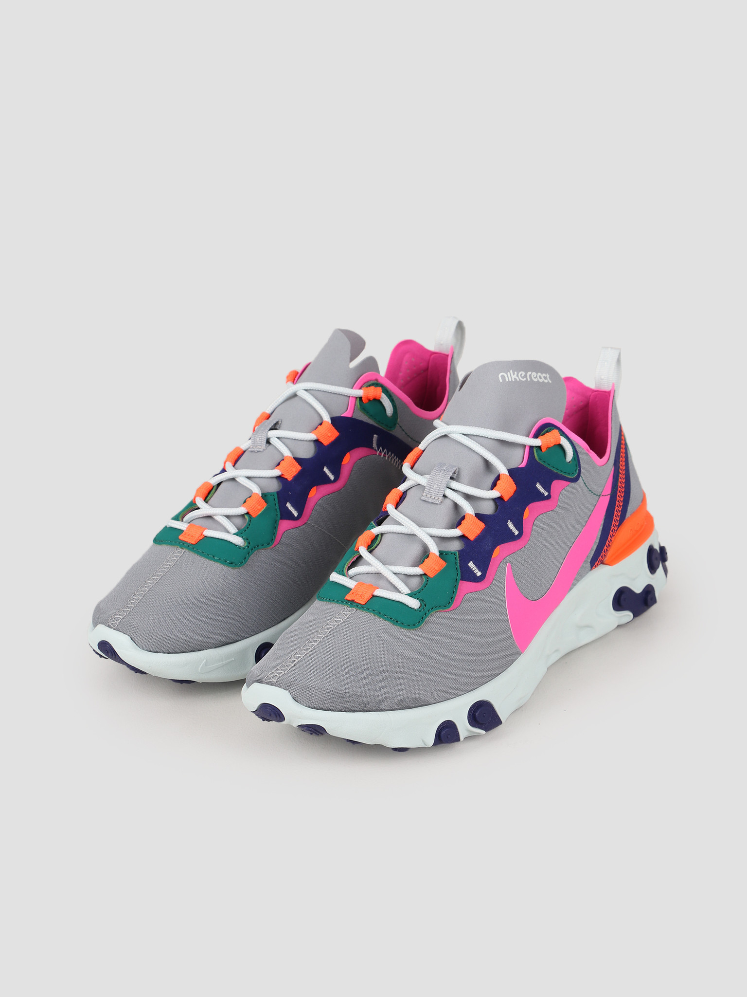 Nike Nike React Element 55 Wolf Grey Laser Fuchsia Hyper Crimson BQ2728-006