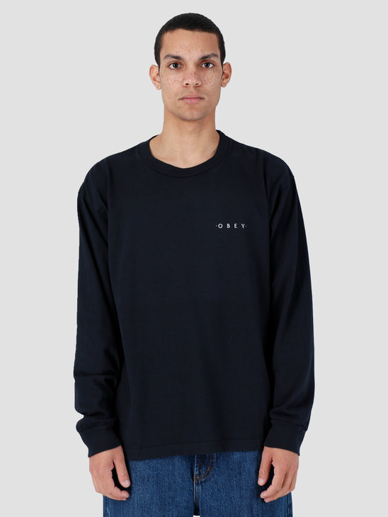 Obey Novel 3 Heavyweight Classic Custom Longsleeve Off Black 167101838-OBK