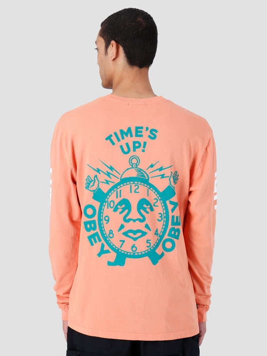 Obey Time'S Up Pigment Longsleeve Dusty Raw Terracotta 166731974-TER