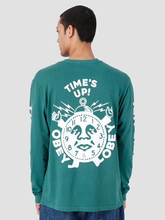 Obey Time'S Up Pigment Longsleeve Dusty Ivy Green 166731974-IVY