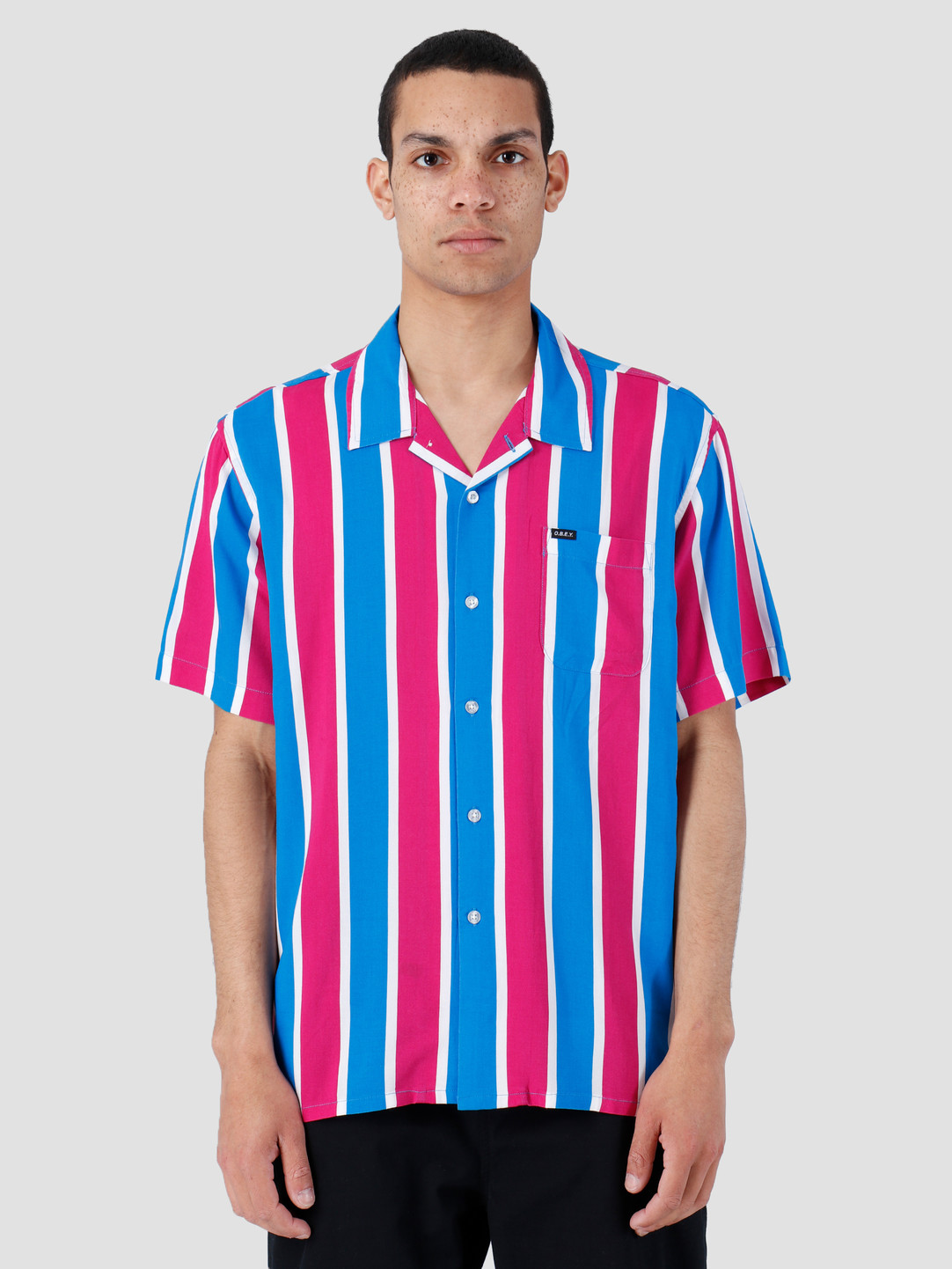 Obey Obey Sutter Stripe Woven T-Shirt Fuchsia Multi 181210245-FUS
