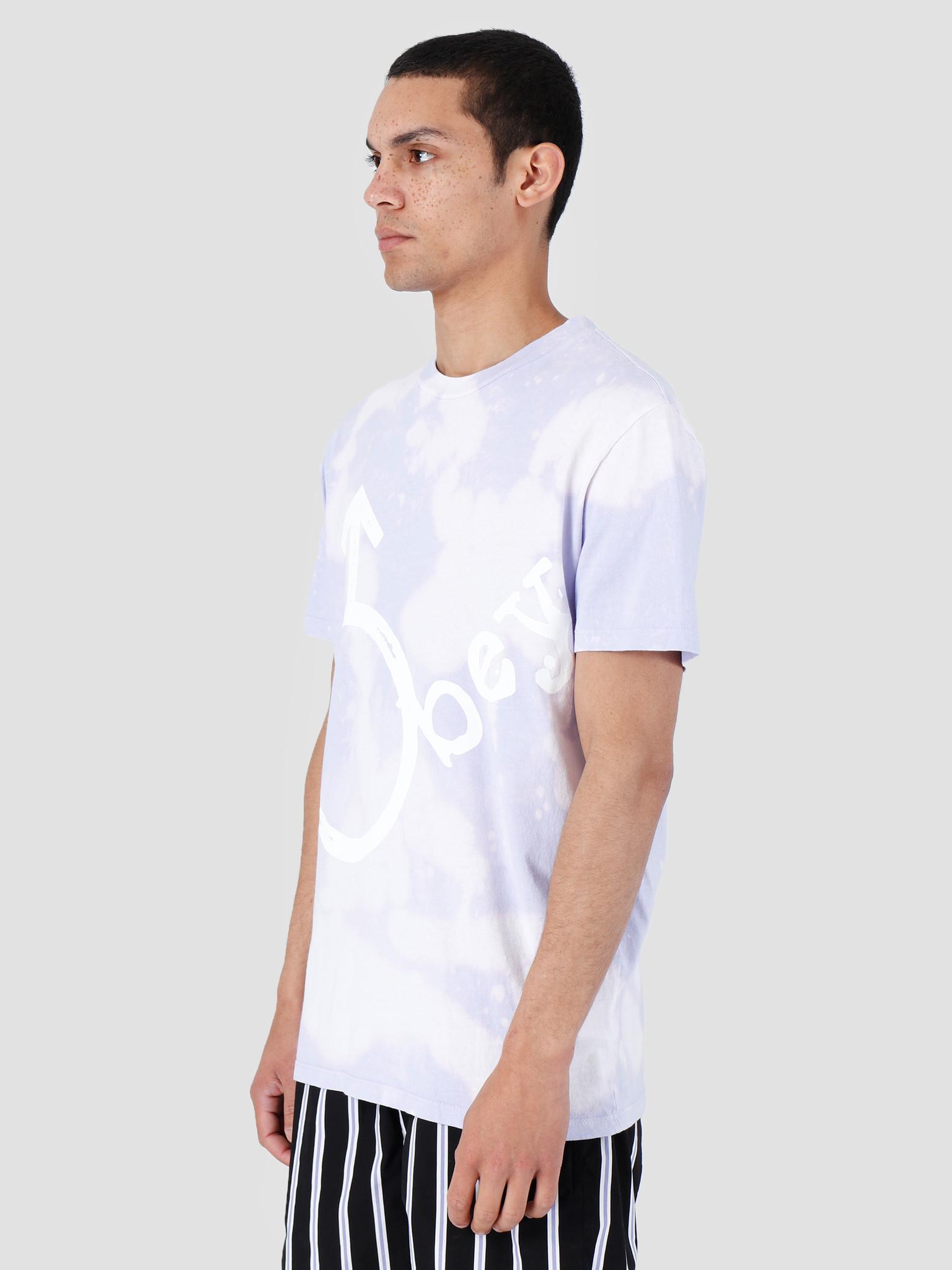 Obey Obey Chrome Bleach T-Shirt Lavender 166741972-LAV