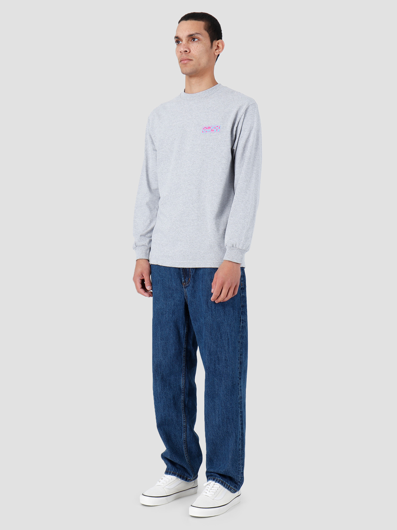 Obey Obey Basic Longsleeve Shirt Heather Grey 164901966-HEA