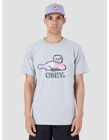 Obey Obey Kitty Basic T-Shirt Heather Grey 163081982-HEA