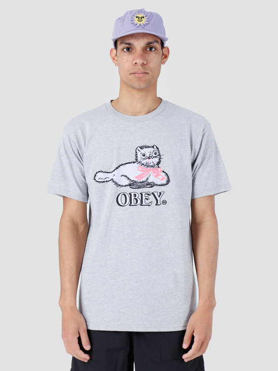 Obey Kitty Basic T-Shirt Heather Grey 163081982-HEA