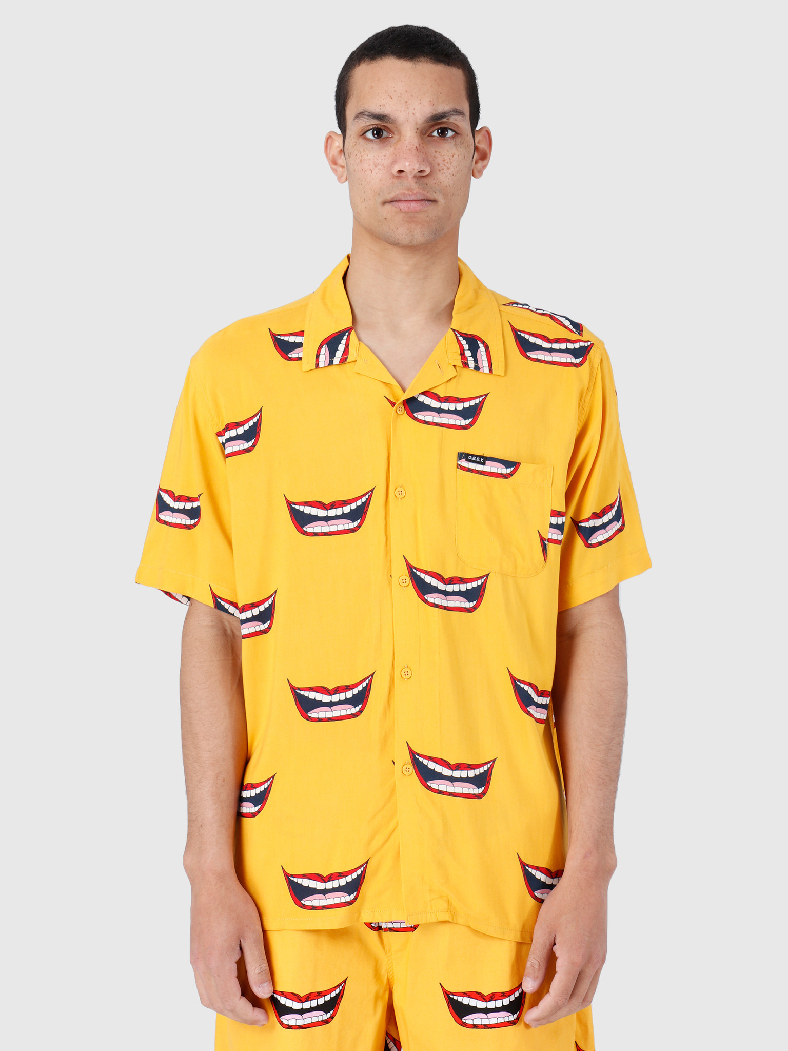 Obey Obey Shortsleeve Woven Mineral Yellow Multi 181210246-MRL