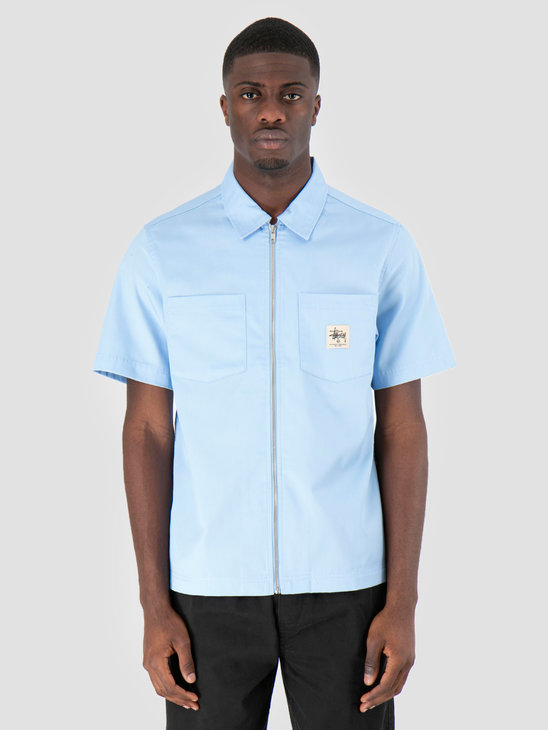 Stussy Full Zip Work Shirt Light Blue 2065